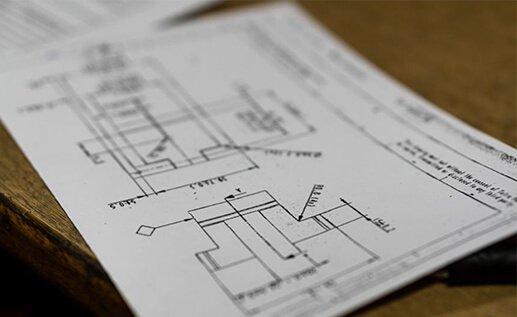 Konstruktionsritning av komponent till legotillverkning